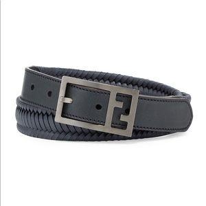 FENDI FF Logo Buckle Woven Leather Belt NWT